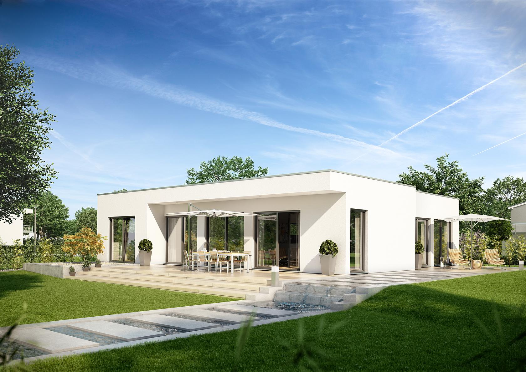 Bungalow purea im bauhausstil kern haus for Flachdach bungalow modern