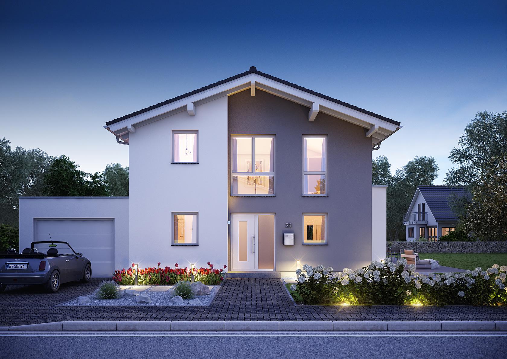 Familienhaus vero satteldach mit flacher dachneigung for Modernes haus bauen