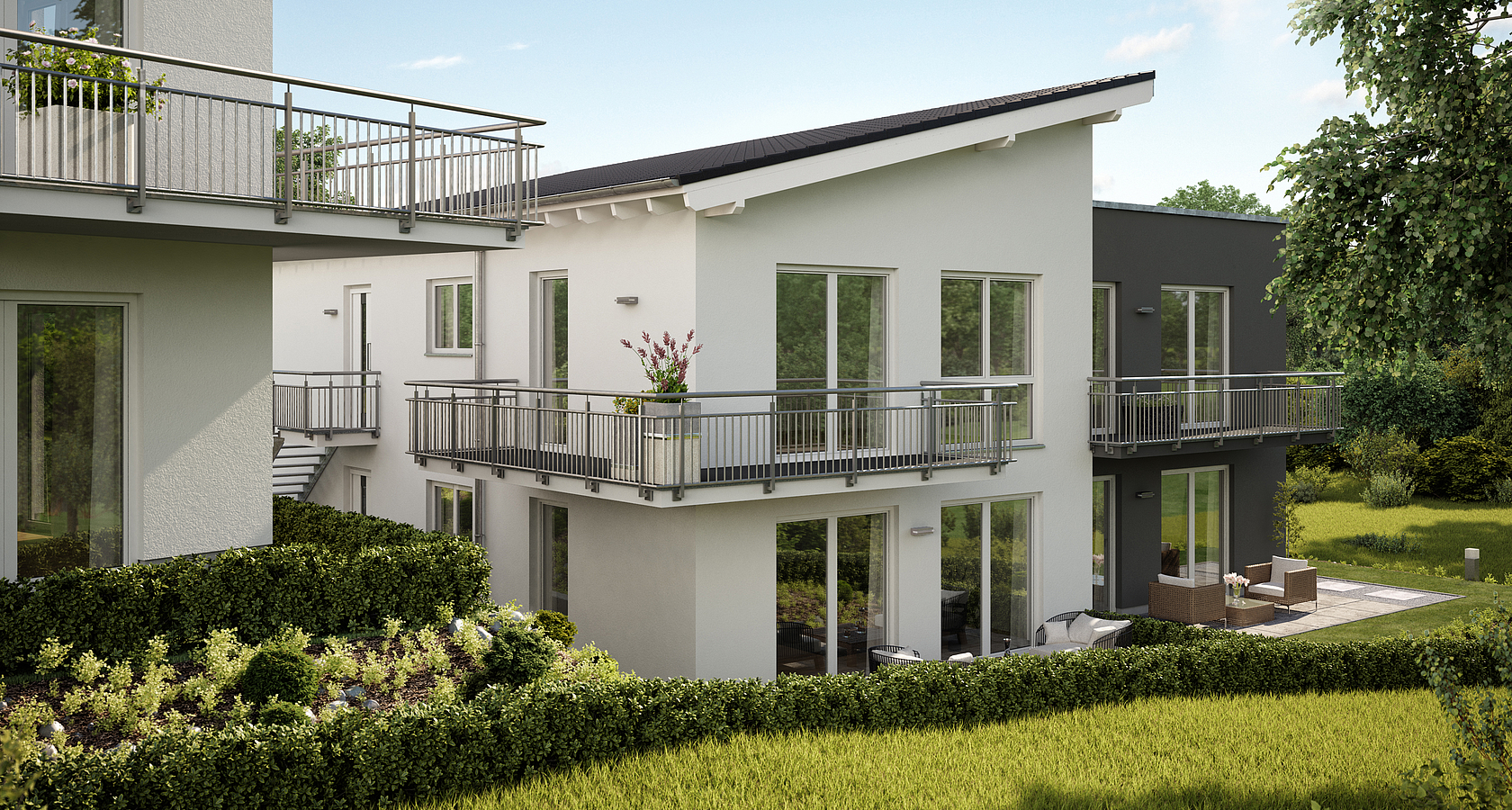 mehrfamilienhaus bauen individuell geplant kern haus. Black Bedroom Furniture Sets. Home Design Ideas