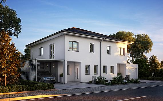 Haustypen rheinquartier massivhaus for Haus modern walmdach
