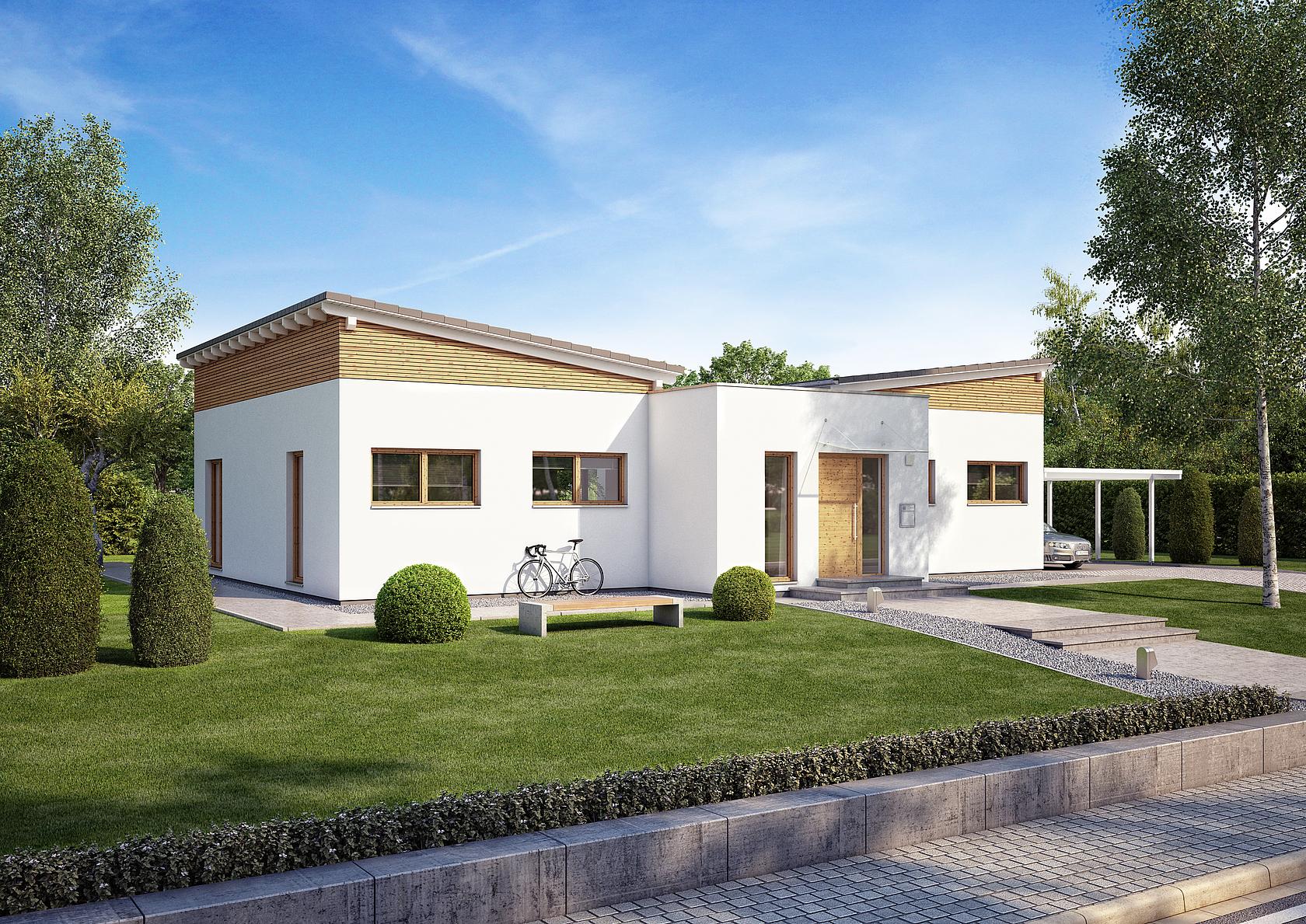 bungalow fokus von kern haus mit schmetterlingsdach. Black Bedroom Furniture Sets. Home Design Ideas