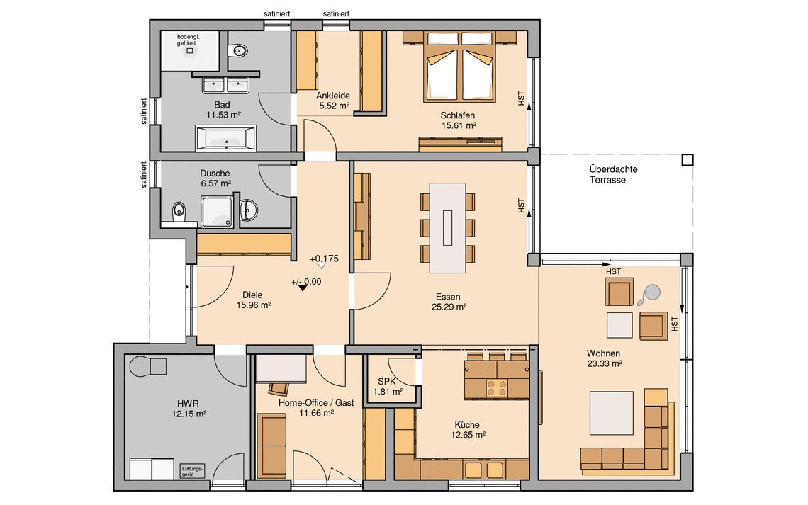 Massivhaus l-form  Bungalow bauen - barrierefreies Wohnen | Kern-Haus