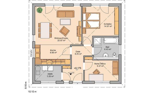 Grundriss bungalow 3 zimmer mit garage  Bungalow bauen - barrierefreies Wohnen | Kern-Haus