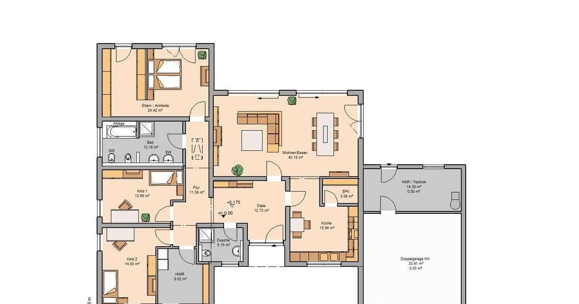 Einfamilienhaus grundriss mit doppelgarage  Bungalow Trio mit Garage | Kern-Haus