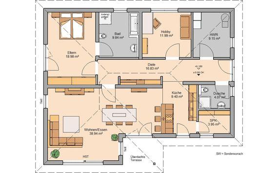 Kern Haus Bungalow Vita Grundriss Erdgeschoss