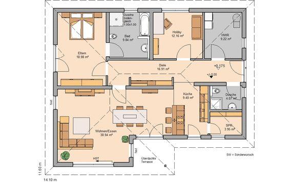 Fertigteilhaus bungalow grundriss  Bungalow bauen - barrierefreies Wohnen | Kern-Haus