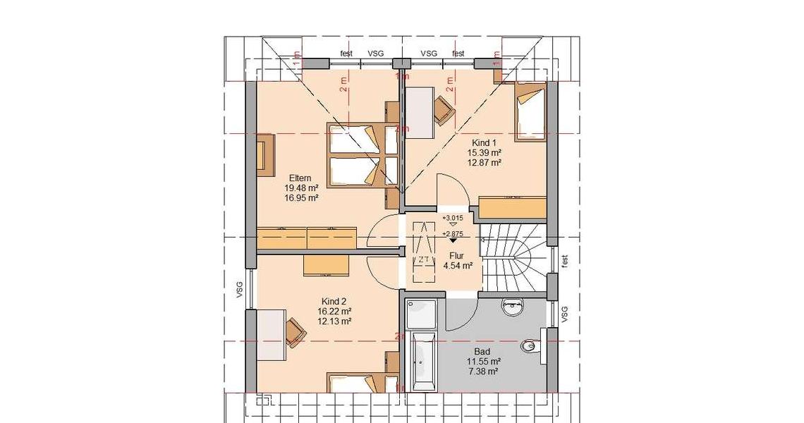 ... Kern Haus Familienhaus Komfort Grundriss Dachgeschoss