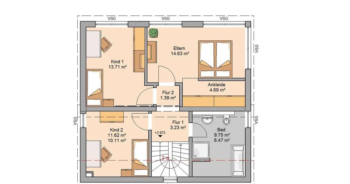 ... Kern Haus Familienhaus Vision Plus Grundriss Dachgeschoss