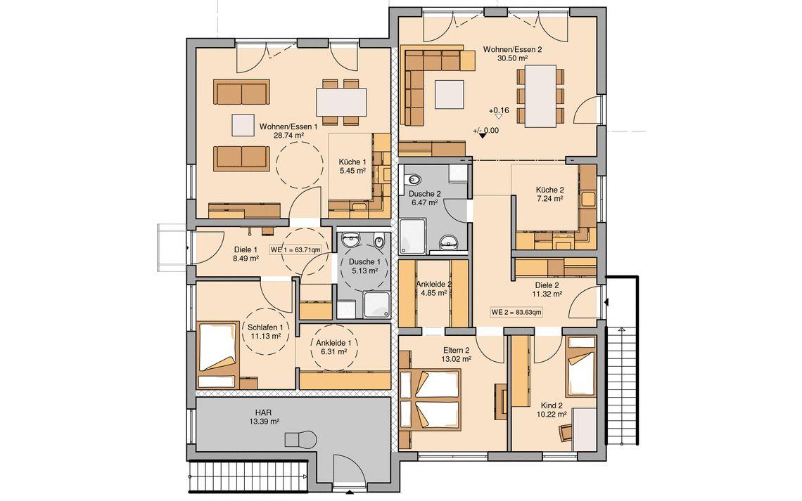 Kern haus massivhaus mehrfamilienhaus quadra grundriss erdgeschoss