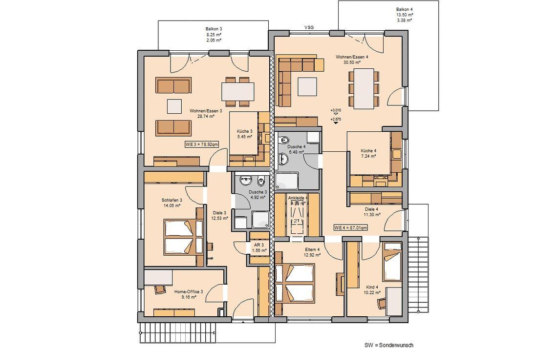 grundriss massivhaus mehrfamilienhaus quadra kern haus - Mehrfamilienhaus Grundriss Beispiele
