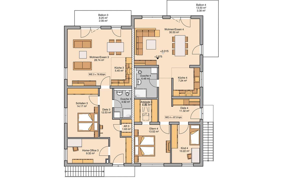 Grundriss massivhaus mehrfamilienhaus quadra kern haus