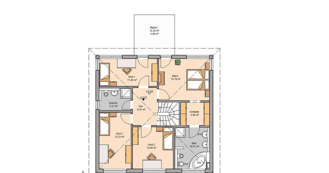 Stadtvilla moderne architektur grundriss  Stadtvilla Centro von Kern-Haus | 4 Schlafzimmer für Familien