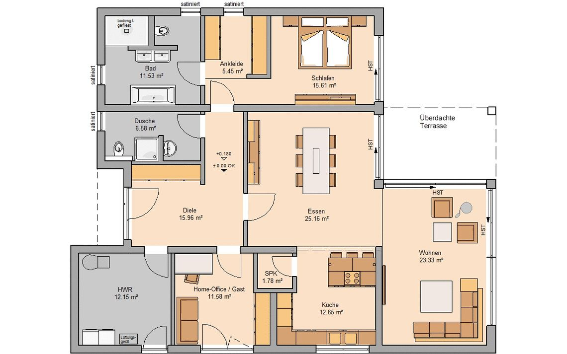 Massivhaus Grundriss Kern Haus Bungalow Select